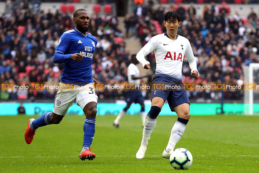 Son Heung-Min of Tottenham Hotspur and Junior Hoilett of Cardiff City during Tottenham Hotspur vs Cardiff City, Premier League Football at Wembley Stadium on 6th October 2018