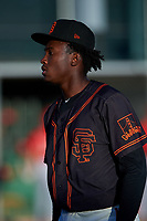 AZL Giants Black starting pitcher Freddery Paulino (84) walks off the field between innings of an Arizona League game against the AZL Angels at the Giants Baseball Complex on June 21, 2019 in Scottsdale, Arizona. AZL Angels defeated AZL Giants Black 6-3. (Zachary Lucy/Four Seam Images)
