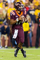 Landover, MD - SEPT 3, 2017: Virginia Tech Hokies quarterback Josh Jackson (17) frops back in the pocket during game between West Virginia and Virginia Tech at FedEx Field in Landover, MD. (Photo by Phil Peters/Media Images International)