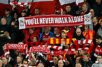 """Liverpool fans hold up a giant scarf with the phrase """"You'll Never Walk Alone"""" during the Champions League Group E match at the Anfield Stadium, Liverpool. Picture date 13th September 2017. Picture credit should read: Simon Bellis/Sportimage"""