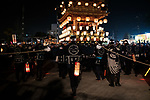 Chichibu Festival Yataijyoji floats go through the street of Chichibu City, Saitama Prefecture on December 3, 2018. People carry a mikoshi and floats with fireworks during the Chichibu Night Festival. The 300-year-history festival took place at the Chichibu Shrine and nearly 200,000 people enjoyed the festival. Chichibu festival's Yataigyoji and Kagura dance were officially added on the UNESCO's list of Intangible Cultural Heritage as one of set of 33 festivals in Japan that involve in yama, hoko, and yatai floats in 2016. December 3, 2018 (Photo by Nicolas Datiche/AFLO) (JAPAN)