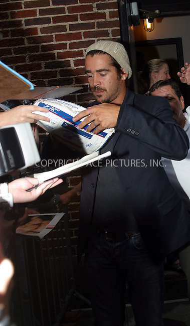 """Latest Hollywood sensation, Irish badboy Colin Farrel getting mobed by adoring fans as he appears on the """"Late Show With David Letterman"""" to promote his latest action flick, 'S.W.A.T.' New York, August 5, 2003. Please byline: NY Photo Press.   ..*PAY-PER-USE*      ....NY Photo Press:  ..phone (646) 267-6913;   ..e-mail: info@nyphotopress.com"""