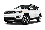 Stock pictures of low aggressive front three quarter view of a 2018 Jeep Compass Limited 5 Door SUV