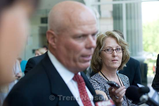Salt Lake City - Bruce Wisan speaks after a hearing held in the Matheson Courthouse Wednesday, July 29, 2009 to decide on the sale of the Berry Knoll property in the United Effort Plan (UEP) land trust..bruce wisan, brooke adams