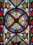 Church of Saint Peter, Blaxhall, Suffolk, England, UK stained glass window geometric pattern