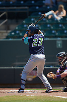 Jonathan Laureano (23) of the Lynchburg Hillcats at bat against the Winston-Salem Rayados at BB&T Ballpark on June 23, 2019 in Winston-Salem, North Carolina. The Hillcats defeated the Rayados 12-9 in 11 innings. (Brian Westerholt/Four Seam Images)