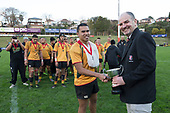 Counties Manukau and Waikato Secondary Schools 1st XV Premier Championship final between Manurewa High School and Cambridge High School, played at ECOLight Stadium on Friday August 11th 2017. Manurewa High School won the game and the Championship with a 24 - 20 victory.<br /> Photo by Richard Spranger.