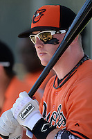 Baltimore Orioles Jake Luce (85) during a minor league spring training game against the Boston Red Sox on March 18, 2015 at the Buck O'Neil Complex in Sarasota, Florida.  (Mike Janes/Four Seam Images)