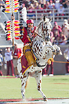 Florida State mascot Osceola riding his horse Renegade prior to the start of an NCAA college football game against Wake Forest in Tallahassee, Fla., Saturday, Oct. 15, 2016. (AP Photo/Mark Wallheiser)