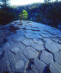 USA; California; Sierra Nevada Mountains.  Patterns of rock on top of Devils Postpile National Monument