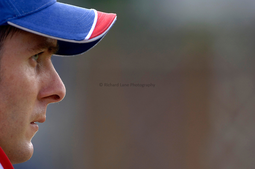 Photo: Glyn Thomas..England training. nPower Test Match Series, The Ashes 2nd Test..03/08/2005..England's captain Michael Vaughan looks pensive in training.