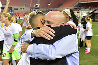 Houston, TX - Sunday Oct. 09, 2016: Lianne Sanderson, Paul RileyLianne Sanderson, Paul Riley, celebrates after the National Women's Soccer League (NWSL) Championship match between the Washington Spirit and the Western New York Flash at BBVA Compass Stadium. The Western New York Flash win 3-2 on penalty kicks after playing to a 2-2 tie.