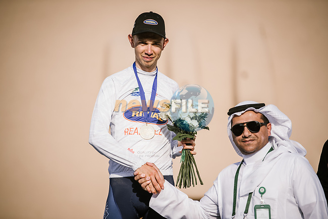 Andreas lorentz Kron (DEN) Riwal Readynez Cycling Team wins the White Jersey young ridersl classification at the end of Stage 5 of the Saudi Tour 2020 running 144km from Princess Nourah University to Al Masmak, Saudi Arabia. 8th February 2020. <br /> Picture: ASO/Pauline Ballet | Cyclefile<br /> All photos usage must carry mandatory copyright credit (© Cyclefile | ASO/Pauline Ballet)