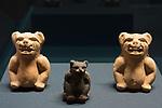 Small ceramic jaguars from the ruins of the Zapotec city of Atzompa in the Museo Comunitario Santa Maria Atzompa, Oaxaca, Mexico.