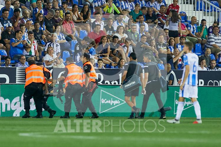 Real Sociedad's Diego Javier Llorente injured during La Liga match. August 24, 2018. (ALTERPHOTOS/A. Perez Meca)