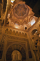 Mihrab, a semicircular niche that indicates the direction that Muslims should face when praying, inside the Catedral de Cordoba, a former medieval mosque, Cordoba, Andalusia, Spain.
