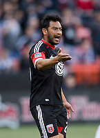 Carlos Ruiz (20) of D.C. United yells to a referee during a Major League Soccer match at RFK Stadium in Washington, DC.  The Portland Timbers defeated D.C. United, 2-0.