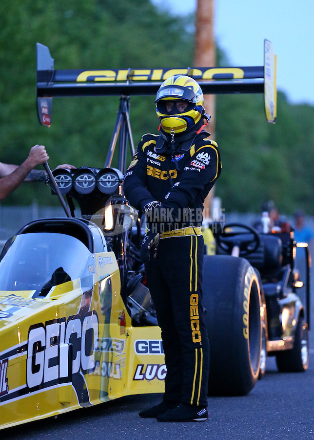 May 31, 2013; Englishtown, NJ, USA: NHRA top fuel dragster driver Morgan Lucas during qualifying for the Summer Nationals at Raceway Park. Mandatory Credit: Mark J. Rebilas-