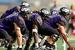 SIOUX FALLS, SD - OCTOBER 18: The University of Sioux Falls offensive line prepares for the snap against Southwest Minnesota State in the second half of their game Saturday afternoon at Bob Young Field in Sioux Falls. (Photo by Dave Eggen/Inertia)