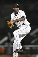 Relief pitcher Nicolas Debora (45) of the Columbia Fireflies delivers a pitch in a game against the Augusta GreenJackets on Saturday, April 7, 2018, at Spirit Communications Park in Columbia, South Carolina. Augusta won, 6-2. (Tom Priddy/Four Seam Images)