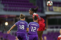 Orlando, FL - Tuesday August 08, 2017: Maddy Evans, Kristen Edmonds, Cheyna Williams during a regular season National Women's Soccer League (NWSL) match between the Orlando Pride and the Chicago Red Stars at Orlando City Stadium.