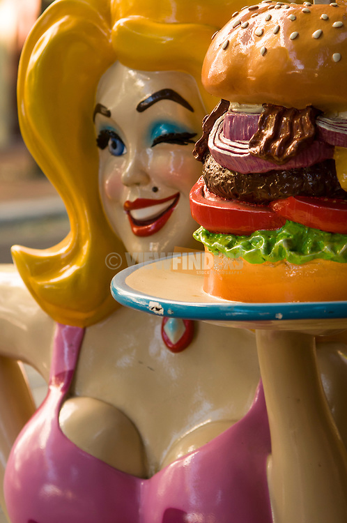 Close-up of Hamburger Mary's statue.