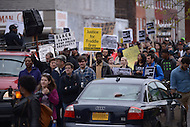 Baltimore, MD - April 25, 2015: Hundreds of protestors march from the Baltimore City Police Department's Western District Headquarters April 25, 2015 to demand police accountability in the death of Freddie Gray and protest police brutality. Gray died of a broken spine while in police custody.  (Photo by Don Baxter/Media Images International)