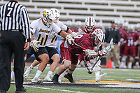 Towson, MD - May 6, 2017: UMASS Minutemen Noah Rak (29) wins the faceoff during game between Towson and UMASS at  Minnegan Field at Johnny Unitas Stadium  in Towson, MD. May 6, 2017.  (Photo by Elliott Brown/Media Images International)