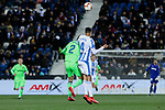 CD Leganes's Diego Reyes and Levante UD's Borja Mayoral during La Liga match between CD Leganes and Levante UD at Butarque Stadium in Leganes, Spain. March 04, 2019. (ALTERPHOTOS/A. Perez Meca)