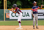 WATERBURY,  CT-072519JS03--Overlook's John Greene (1) celebrates after hitting an RBI double while Texas Texas Desperados' Colby Guy (45) waits for the ball to be thrown back in, during their Mickey Mantle World Series game Thursday at Municipal Stadium in Waterbury. <br />  Jim Shannon Republican-American