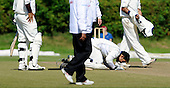 Scotland V Afghanistan, ICC Intercontinental Cup tie, Day 2, at New Cambusdoon, Ayr - Afghanistan centurion Samiullah Shenwari makes a short prayer to celebrate his maiden first class hundred. Umpire is Ian Ramage - Picture by Donald MacLeod 12.08.10 - mobile 07702 319 738 - clanmacleod@btinternet.com