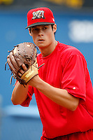 July 3, 2009:  Pitcher Joe Kelly of the Batavia Muckdogs warms up in the bullpen before a simulated game at Dwyer Stadium in Batavia, NY.  The Muckdogs are the NY-Penn League Short-Season Class-A affiliate of the St. Louis Cardinals.  Photo by:  Mike Janes/Four Seam Images