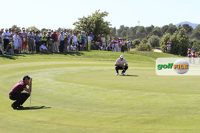 James Morrison (ENG) and David Howell (ENG) on the 18th green during Round 4 of the Open de Espana  in Club de Golf el Prat, Barcelona on Sunday 17th May 2015.<br /> Picture:  Thos Caffrey / www.golffile.ie
