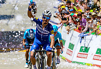 LA UNION - COLOMBIA, 16-02-2019: Julian ALAPHILIPPE (FRA), Deceuninck - Quick Step Floors, cruza la línea de meta como ganador de la la quinta etapa del Tour Colombia 2.1 2019 con un recorrido de 176.8 Km, que se corrió con salida y llegada en La Union, Antioquia. / Julian ALAPHILIPPE (FRA), Deceuninck - Quick Step Floors, crosses the finish line as winner of the fifth stage of 176.8 km of Tour Colombia 2.1 2019 that ran with start and arrival in La Union, Antioquia.  Photo: VizzorImage / Eder Garces / Fedeciclismo Prensa / Cont
