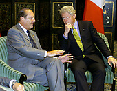 United States President Bill Clinton meeting with President Jacques Chirac of France at the Waldorf-Astoria Hotel in New York, New York on September 7, 2000.<br /> Mandatory Credit: Sharon Farmer - White House via CNP