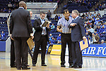 January 2, 2016 - Colorado Springs, Colorado, U.S. -  Air Force head coach, Dave Pilipovich, makes a point to an official during a first half timeout during an NCAA basketball game between the San Jose State Spartans and the Air Force Academy Falcons at Clune Arena, U.S. Air Force Academy, Colorado Springs, Colorado.  Air Force defeats San Jose State 64-57.