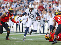 College Park, MD - November 25, 2017: Penn State Nittany Lions wide receiver Saeed Blacknall (13) runs the after making a catch during game between Penn St and Maryland at  Capital One Field at Maryland Stadium in College Park, MD.  (Photo by Elliott Brown/Media Images International)