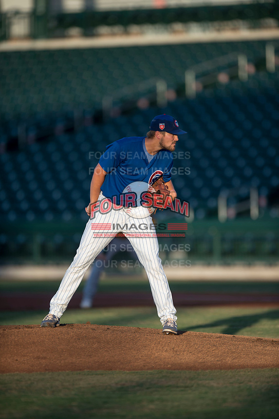 AZL Cubs 1 starting pitcher Peyton Remy (54) looks to his catcher for the sign during an Arizona League game against the AZL Cubs 1 at Sloan Park on June 28, 2018 in Mesa, Arizona. The AZL Athletics defeated the AZL Cubs 1 5-4. (Zachary Lucy/Four Seam Images)