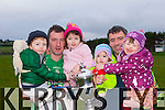 Peter and Ian Twiss celebrate with their kids after they played their last ever game with victory in the Mid Kerry final against Keel on Sunday l-r: Luke, Peter, Emily, Ian and Sophie