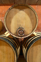 Domaine de Montcalmes in Puechabon. Terrasses de Larzac. Languedoc. Barrel cellar. Barrel with special metal fitting for red wine barrel fermentation. France. Europe.
