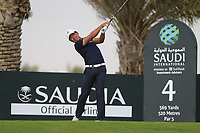 Ashun Wu (CHN) on the 4th tee during the 1st round of  the Saudi International powered by Softbank Investment Advisers, Royal Greens G&CC, King Abdullah Economic City,  Saudi Arabia. 30/01/2020<br /> Picture: Golffile | Fran Caffrey<br /> <br /> <br /> All photo usage must carry mandatory copyright credit (© Golffile | Fran Caffrey)
