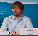 Brussels-Belgium - July 15, 2014 -- Press conference on the registration of the European Citizens' Initiative STOP TTIP and the demand of a stop of the negotiations for TTIP and CETA, held at Press Club Brussels Europe; here, Karl BÄR (Baer)(Umweltinstitut München) -- Photo: © HorstWagner.eu