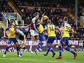 2nd February 2019, Turf Moor, Burnley, England; EPL Premier League football, Burnley versus Southampton; Jack Stephens of Southampton handles under heavy pressure from Peter Crouch of Burnley to give away a penalty in the 94th minute