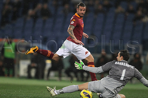 20.01.2013 Rome, Italy. Pablo Daniel Osvaldo in action during the Serie A game between Roma and Inter Milan from the Stadio Olympico.