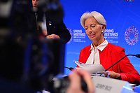 Washington, DC - April 11, 2019: IMF Managing Director Christine Lagarde prepares for a press conference during the IMF/World Bank Spring Meetings in Washington, D.C., April 11, 2019.  (Photo by Don Baxter/Media Images International)