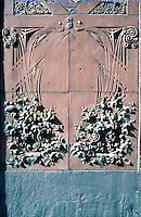 "Louis Sullivan: Guaranty Bldg. Terra cotta panels at corner of building. Some of these panels were ""detailed"" by George Grant Elmslig, Adler & Sullivan's chief draftsman.  Photo '88."