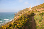 Ruins of Towanroath Pumping House at the Wheal Coates Tin Mine, St Agnes Head, Cornwall, England