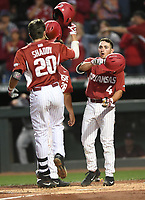 NWA Democrat-Gazette/ANDY SHUPE<br /> Arkansas Mississippi State Saturday, March 18, 2017, during the inning at Baum Stadium in Fayetteville. Visit nwadg.com/photos to see more photographs from the game.