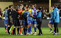 Players from both teams shake hands at the end of the match<br /> <br /> Photographer Andrew Kearns/CameraSport<br /> <br /> The Emirates FA Cup Second Round - Solihull Moors v Blackpool - Friday 30th November 2018 - Damson Park - Solihull<br />  <br /> World Copyright © 2018 CameraSport. All rights reserved. 43 Linden Ave. Countesthorpe. Leicester. England. LE8 5PG - Tel: +44 (0) 116 277 4147 - admin@camerasport.com - www.camerasport.com