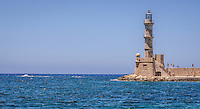 Fine Art Landscape Print Photography, Of a walled light-tower guarding the bay and Port City of Chania, Crete, in Greece.